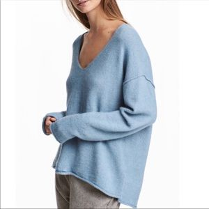 H&M baby blue off the shoulder oversized sweater